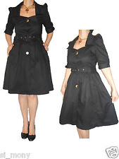 Women Black Cute Trench Coat (dress style) Flared Cotton Atmosphere Size 12