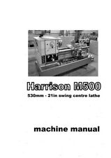Harrison M500 Tornio Manuale & elenchi delle parti - 81 pagine in formato PDF