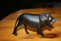 "Wood Lion Statue Vintage Hand Carved African Sculpture Figurine 6"" Long"