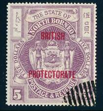 NORTH BORNEO 1912 $5 used VF, overprinted red