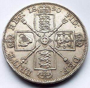 1890 Queen Victoria Jubilee Head .925 AU Silver Double Florin Coin