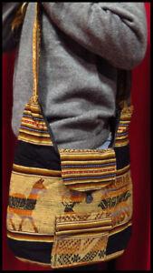 Indiander Tasche Umhängetasche Tragetasche Ethno Schwarz Stoff