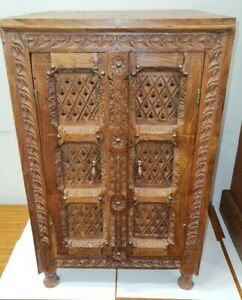 Indian Style Hand Carved Solid Wood Small Cabinet - CIS S53