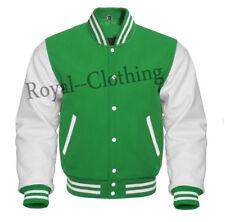 Varsity Letterman Green Wool & Genuine White Leather Sleeves Jacket Sizes XS~7XL