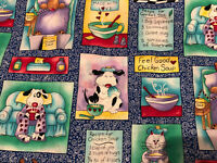 """Fabric Vintage Chicken Soup NOVELTY Dogs Cats""""feel Good Soup Bty 36""""x42"""""""