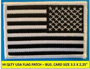"""REVERSE USA AMERICAN FLAG BLACK/WHITE EMBROIDERED PATCH IRON-ON SEW-ON 3½ x 2¼"""""""