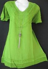 BOHO EMBROIDERED PARROT GREEN MOSS CREPE CROCHET LACE TUNIC TOP  12 14 16