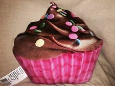Pink Cupcake Chocolate Icing Sprinkles Realistic Looking Food Pillow Plush NWOT