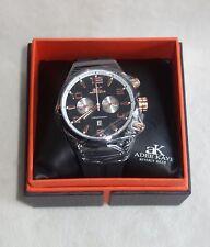 Adee Kaye Men's Silicone Strap Black /ROSE Chronograph Watch AK7232-M NEW