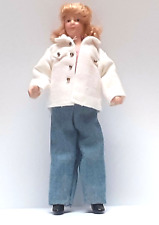 More details for dolls house doll 1/12th scale modern woman with blonde hair in  white jacket