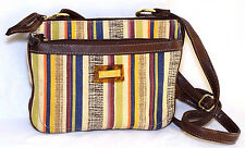 Relic Fossil Cross Body Bag Small Striped Purse Earth Tones Fabric Brown Leather