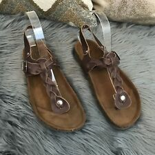 9f68c92b39229 a. Giannetti Sandal Size 8.5 M Brown Leather Flip Flop Slingback Thong BOHO