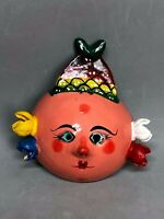 Mexican Folk Art Coconut Shell Mask Hand Painted Woman Fish/Pineapple Crown