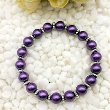 DIY Wholesale Fashion Jewelry 8mm Purple Pearl Beads Stretch  Bracelet