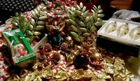 HUGE LOT OF VINTAGE CHRISTMAS DECORATIONS, ANGEL, ORNAMENTS MISC. ITEMS AS IS