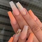 Florry Coffin Matte Press on Nails Extra Long Ombre Fake Nails with Heart Thi...