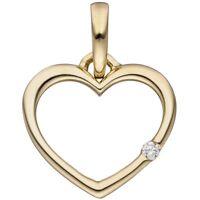 Anhänger Herz mit Diamant Brillant 333 Gold Gelbgold Herzanhänger Halsschmuck