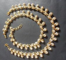Indian Traditional Antique Gold Plated Kundan Polki White Stone Foot Anklet Set