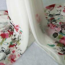 2 Yds Positonal Print Chiffon Flowers Pattern Chiffon Fabric Dress Material