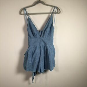 Bec and Bridge womens playsuit romper size 6 blue belted cotton