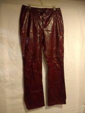 Woman's PVC Pants Size 13 Faux Leather Animal Skin Print Red By Vintage Blue