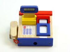 Spielkasse Taschenrechner blau/rot Supermarkt Registrierkasse Scannerkasse Holz