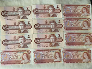 Canada Two Dollars Bill Lot 1974-1986 GEM UNC Lot Of 12 VG Collectables