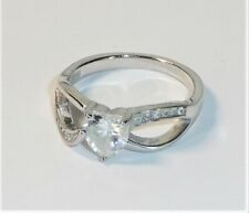 Vintage Sterling Silver Heart Cubic Zirconia CZ Cocktail RING 2.6 grams