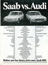 1972 Saab 99E vs. Audi 100 LS Vintage Car Print Ad