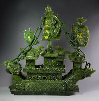 Large Chinese Hand Carved 100% Natural Jade Dragon Incense statue Dragon Boat RN