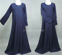 Dubai Abaya Classic Everyday Muslim Women Dress Nida Navy Blue