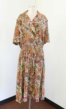 Vtg Floral Paisley Print Shirt Dress Size 22P 22WP Retro Modest Green Orange