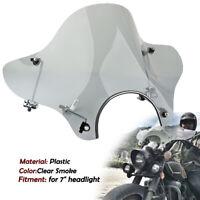 "Universal Motorcycle Cruiser Windshield for Harley Yamaha Honda For 7"" Headlight"