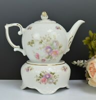 Vintage Schumann Bavaria E & R Teapot and Warmer Montain Rose, Gold Trim,Germany