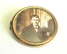 Antique Mourning Picture Young Man Pin~Brooch Gold Fill Glass & C Clasp Tested