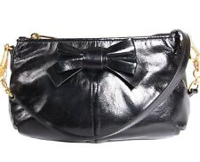 MIU MIU Vitello Lux Piatto Tracolla Small Shoulder Bag Clutch with Bow in Black