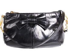 MIU MIU Vitello Lux Piatto Tracolla Small Shoulder Bag Clutch with Bow in Black