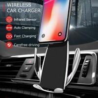 10W Fast Qi Wireless Charger Charging Car Mount Holder for Samsung S9 iPhone X