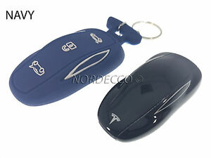 New Silicone Smart Key Fob Protector Case Cover With Keyring Tesla Model S NAVY