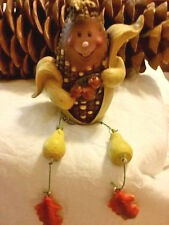 Fall Harvest Indian Corn Holding Apples Shelf Sitter  Resin   NEW