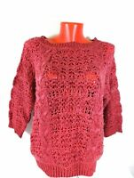 Sparkle & Fade Womens Jumper Open Knit Pink Chunky Sz M 3/4 Sleeve Anthropologie