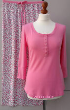 Carole Hochman Ribbed Top & Splash Design Trousers PJ Set Size Small - Pink