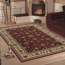 Klassischer Orient Stil Teppich im Bordüre-Pflanzen Design Rot Meliert