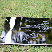 Personalized Acrylic Engraved Names Wedding guest book album,gift box