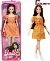 🌟Barbie Fashionistas Doll #160 Polka Dot Orange Dress🌟 Dark Hair🌟
