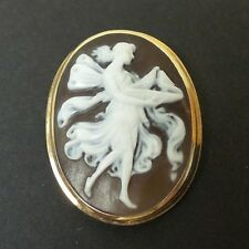 VINTAGE SHELL CAMEO BROOCH / PENDANT,14K GOLD MOUNTING, WINGED LADY, 5 grams