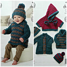 Baby KNITTING PATTERN Babies Cable Jumper Poncho Coat & Hat Chunky KingCole 4557