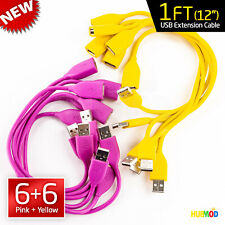 """Lot of 12 Flip USB Cable 1' Ft (12"""") Extension Data Sync Cord Male to Female M-F"""