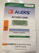ALEKS General Chemistry access card 2 semester Unscratched Code (Damaged Paper)
