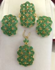 14k Solid Yellow Gold Cluster Set Earrings Ring Pendant W/Natural Emerald12.34GM